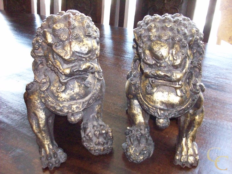 Pair of Bronze Gold-Leaf Fu Dogs